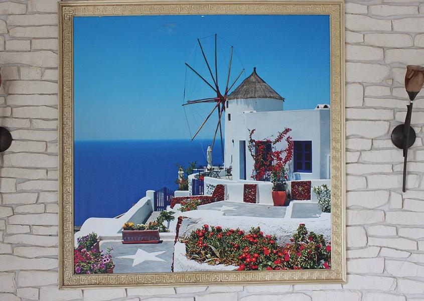 Wandbild mit Santorin-Motiv im griechischen Spezialitätenrestaurant IPIROS
