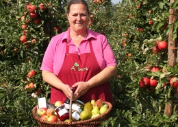 Verkäuferin mit Obst-Warenkorb zwischen Apfelbäumen