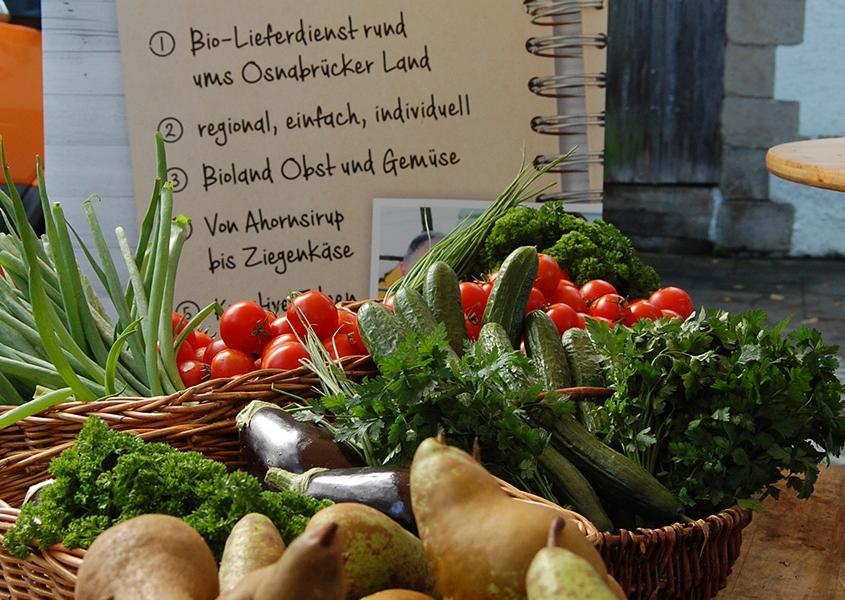 Obst- und Gemüsekorb mit regionalen Produkten, Birnen, Gurken, Tomaten und Kräutern