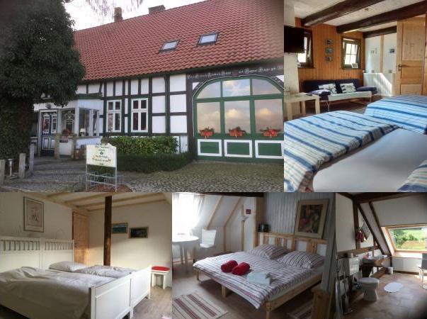 Collage mit Aussen- und Innenansichten Ferienwohnung Altes Forsthaus Hüsede