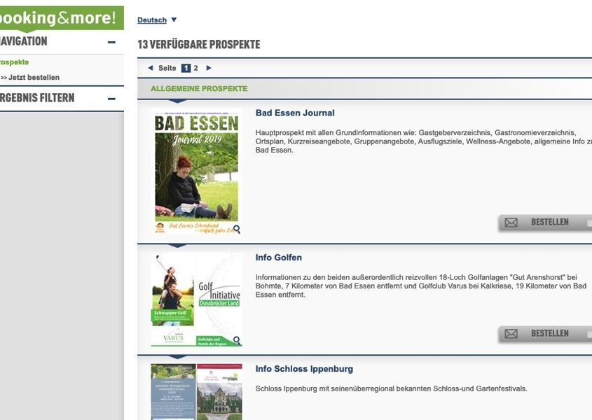 Vorschaubild der Website, auf der Broschüren bestellt werden können
