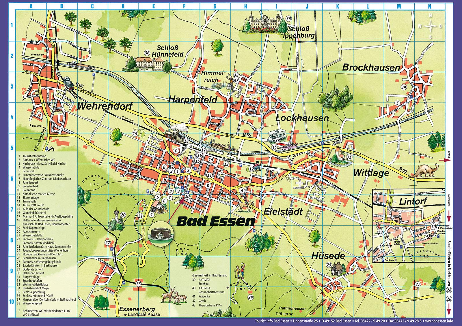 Ortsplan, Karte von Bad Essen mit Einträgen der Sehenswürdigkeiten